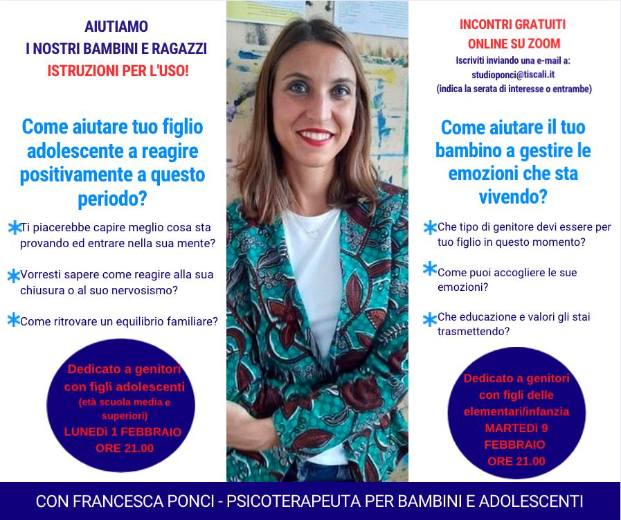 Serate GRATUITE ONLIINE_aiutiamo bambini e ragazzi_Dott.ssa Francesca Ponci